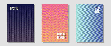 Banner graphics cool vector templates set. Laconic nifty mockups. Zigzag halftone lines wave stripes backdrops. Trendy magazines. Abstract banners graphic design with lined shapes.