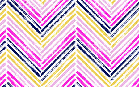 Beautiful chevron fashion print vector seamless pattern. Ink brushstrokes geometric stripes. Hand drawn paint texture zig zag chevron elements. Watercolor textile print seamless design.