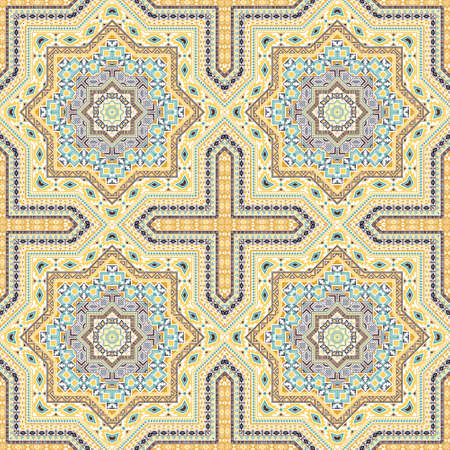 Luxury moroccan zellige tile seamless ornament. Ethnic structure vector swatch. Plaid print design. Stylish moroccan zellige tilework seamless pattern. Line art graphic background. 免版税图像 - 151149595
