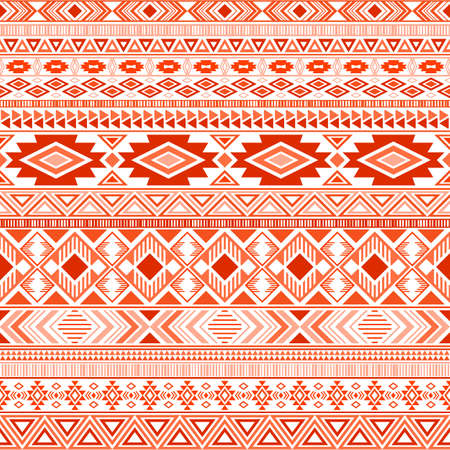 Mayan american indian pattern tribal ethnic motifs geometric seamless background. Modern native american tribal motifs textile print ethnic traditional design. Mexican folk fashion. Vettoriali