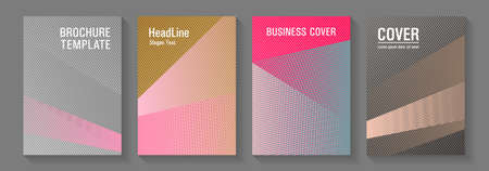 Brochure cover layouts halftone vector set. Marketing brochure covers design set. Futuristic publication papers. Minimal presentation backdrops. Party invitation flyer cool backgrounds. Vettoriali