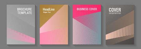 Brochure cover layouts halftone vector set. Marketing brochure covers design set. Futuristic publication papers. Minimal presentation backdrops. Party invitation flyer cool backgrounds. 矢量图像