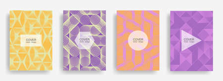 Halftone shapes business brochure covers vector design. Background patterns with halftone triangle, circle, hexagon, rhombus geometric shapes. Minimalist banners set. Corporate brochure covers design.