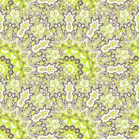Peacock flower seamless ornament. Hindu folk vector composition. Lace arabesque kaleidoscope floral seamless pattern. Summer swimwear print. 免版税图像 - 151149613