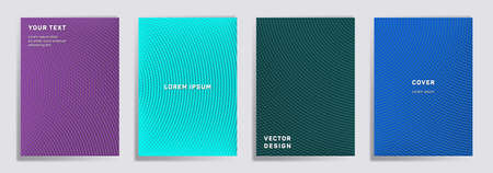 Radial lines halftone grid covers vector set. Minimal brochure title page layouts. Banners, posters, flyers backgrounds with halftone lines grid patterns. Overlaying semicircles prints.