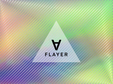 Tech poster glitch holographic layout design. Abstract graphic design elements. Energetic glitch hologram gradient background for poster.