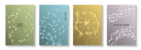 Scientific vector covers with molecular structure or nervous system cells. Liquid waves blend backdrops. Minimalist banner vector templates. Microbiology science covers.