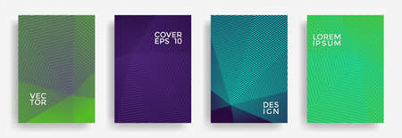 Hexagonal halftone pattern cover pages stylish design. Hexagon lines texture backdrops. Annual report templates set. Cover page layouts, posters, banners with halfton lines. Vetores