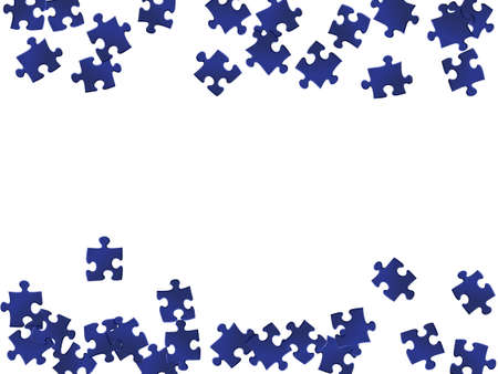 Game enigma jigsaw puzzle dark blue parts vector illustration. Group of puzzle pieces isolated on white. Teamwork abstract concept. Jigsaw gradient plugins.