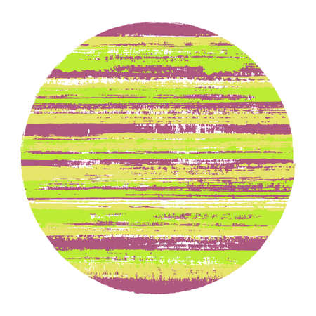 Vintage circle vector geometric shape with striped texture of paint horizontal lines. Disk banner with old paint texture. Badge round shape circle logo element with grunge background of stripes.