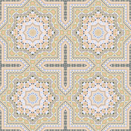 Intricate portugese azulejo tile seamless rapport. Ethnic geometric vector patchwork. Ceramics print design. Classic lisbon azulejo tilework repeating pattern. Line art graphic background. Illustration