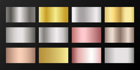 Silver, platinum, bronze, pink gold vector metallic gradients. Badges set. Shiny chrome, alloy, aluminum, titanium, copper, silver, rose gold, platinum, steel, bronze background swatches. Ilustração