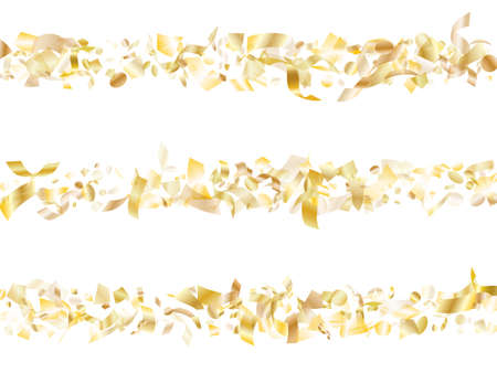Gold glowing realistic confetti flying on white holiday poster background. Glamour flying sparkle elements, gold foil gradient serpentine streamers confetti falling party vector.