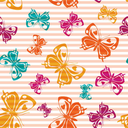 Flying summer butterfly silhouettes over horizontal stripes vector seamless pattern. Cartoon fabric print design. Lines and butterfly garden insect silhouettes seamless wrapping.
