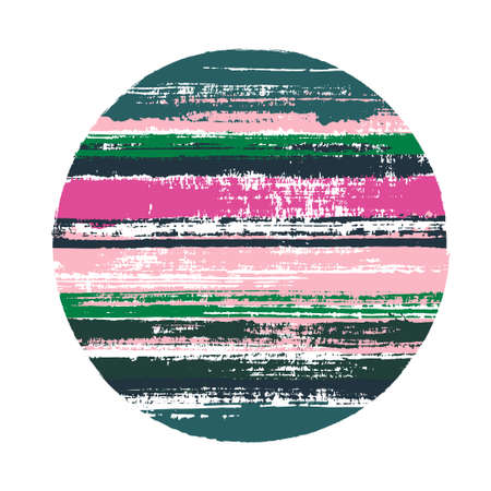 Ragged circle vector geometric shape with stripes texture of ink horizontal lines. Disk banner with old paint texture. Label round shape circle logo element with grunge stripes background.