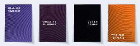 Cover page 2d layout vector design set. Crossed lines dynamic background patterns. Brochure templates.  Educational gradient covers graphic collectoin. Vectores
