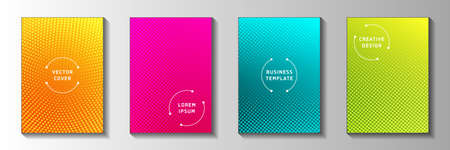 Modern dot screen tone gradation title page templates vector collection. Corporate poster faded screen tone backgrounds. Vintage cartoon comics style cover leaflets. Overlay spots grid Ilustrace