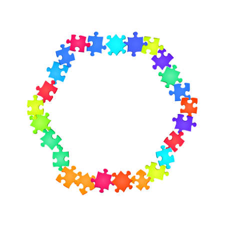 Game enigma jigsaw puzzle rainbow colors pieces vector background. Group of puzzle pieces isolated on white. Strategy abstract concept. Jigsaw gradient plugins. Vettoriali