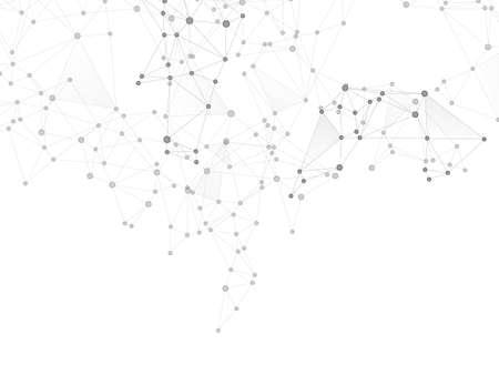 Big data cloud scientific concept. Network nodes greyscale plexus background. Tech vector big data visualization cloud structure. Net grid of node points, lines matrix. Chemical formula abstraction.