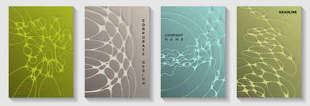 Machine learning idea abstract vector covers. Liquid waves pattern backdrops. Tracery cover vector layouts. Radio physics cover pages graphic design set.