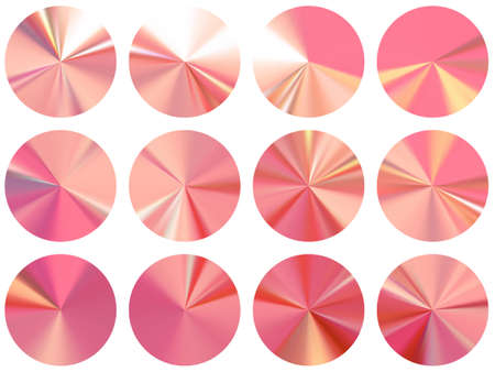 Rose gold round metallic gradient ui button elements vector collection. Isolated decorative swatches. Banner metal surface gradient backgrounds. Icon backgrounds graphic design.