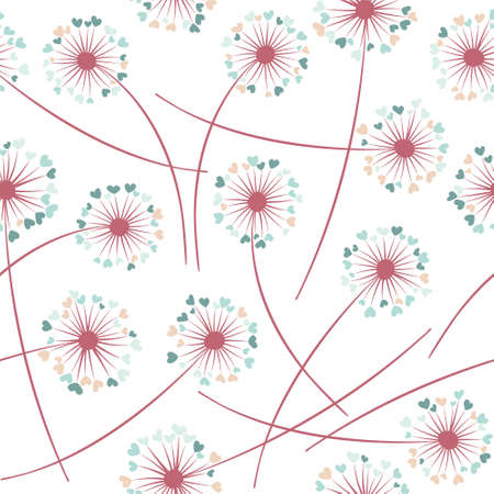 Dandelion blowing plant vector floral seamless pattern. Simple flowers with heart shaped fluff flying. Dandelion herbs meadow flowers floral background design. Meadow blossom fabric print graphics.