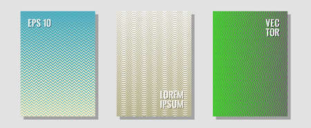Halftone flat patterns abstract vector set. Technological formers. Zigzag halftone lines wave stripes backdrops. Modern branding. Geometric covers of lines gradient flat patterns. Stock Illustratie