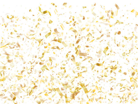 Gold shiny realistic confetti flying on white holiday card background. Trendy flying sparkle elements, gold foil gradient serpentine streamers confetti falling new year vector.