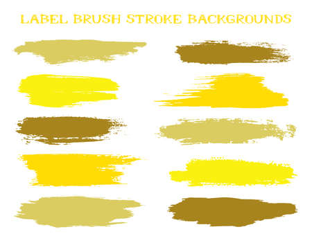 Simple label brush stroke backgrounds, paint or ink smudges vector for tags and stamps design. Painted label backgrounds patch. Interior colors scheme samples. Ink dabs, yellow gold splashes.