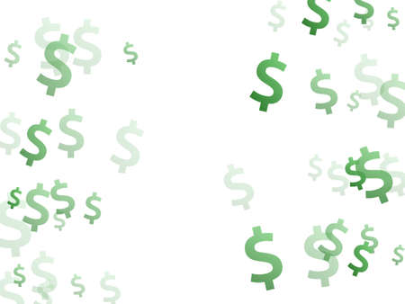 Green dollar signs flying money vector design. Sale concept. Currency sign dollar money isolated elements graphic design.