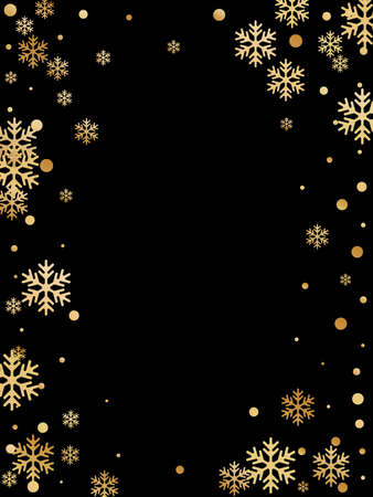 Winter snowflakes and circles border vector design. Unusual gradient snow flakes isolated card background. New Year card border pattern template with cool snowflake elements isolated.