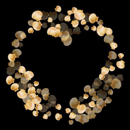 Gold seashells vector, golden pearl bivalved mollusks. Aquarium scallop, bivalve pearl shell, marine mollusk isolated on black wild life nature background. Rich gold sea shell vector.
