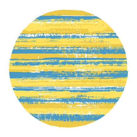 Retro circle vector geometric shape with striped texture of paint horizontal lines. Old paint texture disk. Label round shape logotype circle with grunge background of stripes. Logo