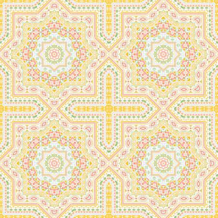 Flat portugese azulejo tile seamless ornament. Ethnic structure vector elements. Tapis print design. Classic lisbon azulejo tilework recurrent pattern. Geometric shapes wallpaper.