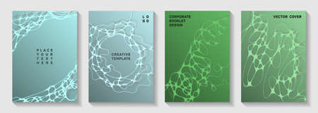 Pharmaceutical healthcare vector covers with neurons, synapses. Overlaying curve lines connection textures. Subtle magazine vector templates. Laboratory research report covers.  イラスト・ベクター素材