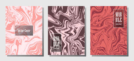 Cool marble prints, vector cover design templates. Fluid marble stone texture iInteriors fashion magazine backgrounds  Corporate journal patterns set of liquid paint waves. Invitation cards set. Ilustracja