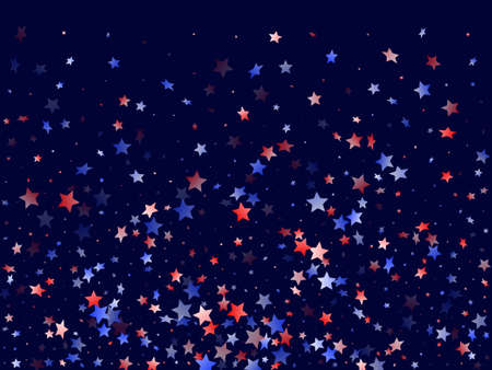 American Independence Day stars background. Confetti in US flag colors for Independence Day.  Minimal red blue white stars on dark American patriotic vector. July 4th holiday stardust.