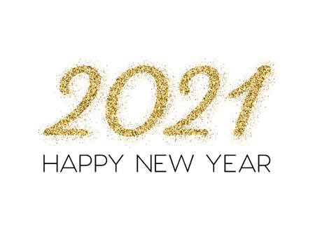 2021 Happy New Year vector poster. Confetti particles gold number lettering. Happy New Year wishes in black, 2021 of confetti scatter. Chic celebration banner.