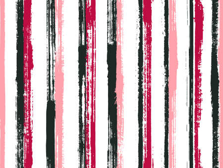 Pain thin grunge stripes vector seamless pattern. Hipster kids clothes fabric design. Old style geometric grunge stripes, lines background swatch. Endless pattern.