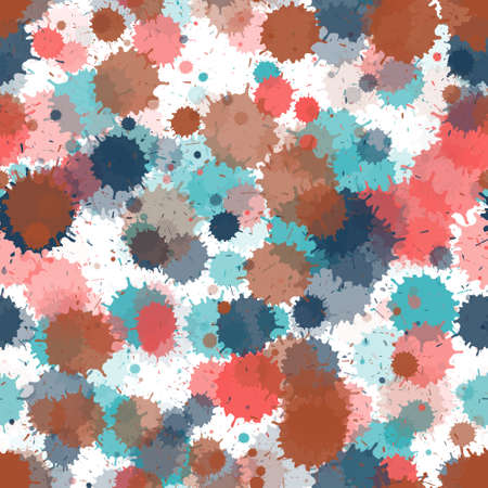 Paint transparent stains vector seamless wallpaper pattern. Retro ink splatter, spray blots, mud spot elements seamless. Watercolor paint splashes pattern, smear fluid splats. Ilustracja
