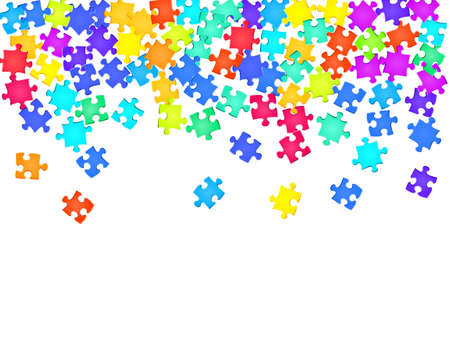 Game tickler jigsaw puzzle rainbow colors pieces vector background. Scatter of puzzle pieces isolated on white. Strategy abstract concept. Jigsaw match elements.