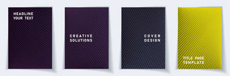 Cover page minimalist layout vector design set. Halftone lines grid background patterns. Brochure templates.  Educational gradient covers graphic collectoin.