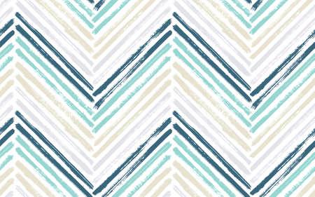 Bohemian chevron fashion print vector seamless pattern. Paint brush stroke geometric stripes. Hand drawn paint texture zig zag chevron backdrop. Watercolor fabric print seamless design.