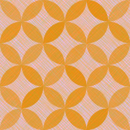 Interlacing circles parts arabic seamless vector pattern. Guatrefoil flower orange medieval endless ornament. Circle elements repeating textile print. Geometric tile motifs. Ilustracja