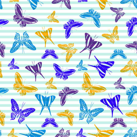 Flying natural butterfly silhouettes over horizontal stripes vector seamless pattern. Cartoon textile print design. Stripes and butterfly winged insect silhouettes seamless wrapping. Ilustracja