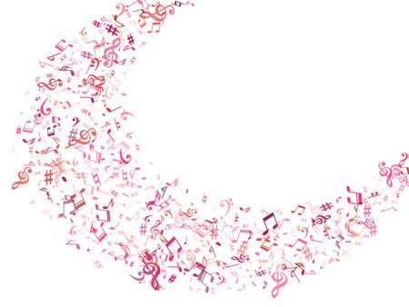 Red, pink and magenta flying musical notes isolated on white background. Bright musical notation symphony signs, notes for sound and tune music. Vector symbols for melody recording, print and design