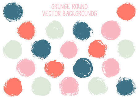 Vector grunge circles design. Watercolor stamp texture circle scratched label backgrounds. Circular tag icon, chalk logo shape, round button elements. Grunge round shape banner backgrounds set.