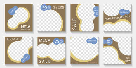 Social media square post templates design with photo frames and sale text. Marketing announcement mockups premium vector set. Sale promo banners with discount and new arrival offers. Ilustracja