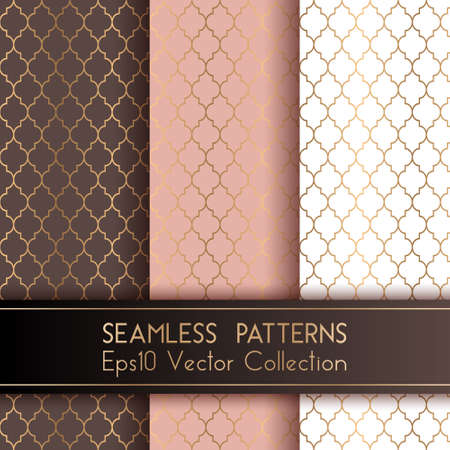 Turkish or Moroccan Quatrefoil Seamless Patterns Set. Traditional mosque patterns in brown rose pink and white colors with gold grid mosaic. Arabic ethnic motifs, grid design of lantern shape tiles.