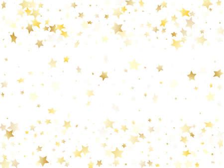 Flying gold star sparkle vector with white background. Flying gold gradient christmas sparkles glitter geometric star pattern. Birthday confetti glitter flying pattern. Ilustracja